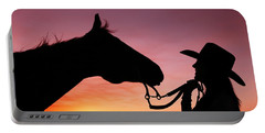 Cowgirl Sunset Portable Battery Charger by Todd Klassy