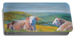 Cows Lying Down Painting Portable Battery Charger
