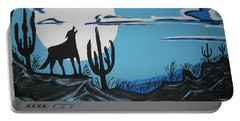 Portable Battery Charger featuring the painting Coyote by Jeffrey Koss