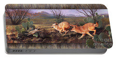Portable Battery Charger featuring the painting Coyote Run With Boarder by Rob Corsetti
