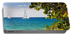 Cozumel Sailboats Portable Battery Charger by Mitchell R Grosky
