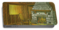Cozy Fireplace At Lake Hope Ohio Portable Battery Charger
