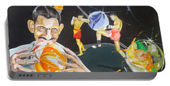 Portable Battery Charger featuring the painting Cracking Marvels Cascando Canicas by Lazaro Hurtado
