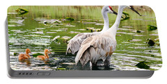 Crane Family Goes For A Swim Portable Battery Charger