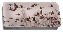 Portable Battery Charger featuring the photograph Cranes Across The Sky by Don Schwartz