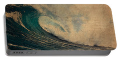 Crashing Ocean Waves Rough Seas No 1 Watercolor On Worn Parchment Portable Battery Charger
