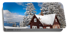 Crater Lake Home - Crater Lake Covered In Snow In The Winter. Portable Battery Charger