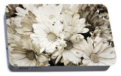 Portable Battery Charger featuring the photograph Crazy Daisies In Black And White by Andee Design