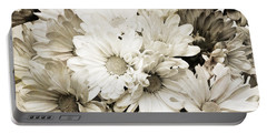 Crazy Daisies In Black And White Portable Battery Charger by Andee Design