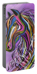 Portable Battery Charger featuring the painting Crazy Horse by Janice Rae Pariza