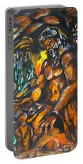 Portable Battery Charger featuring the pastel Creation Creacion by Lazaro Hurtado