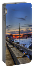 Crescent Moon Over Newburyport Harbor Portable Battery Charger
