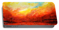 Portable Battery Charger featuring the painting Crimson No.2 by Teresa Wegrzyn