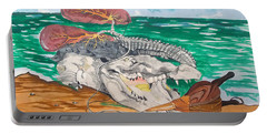 Portable Battery Charger featuring the painting Crocodile Emphysema by Lazaro Hurtado