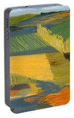 Portable Battery Charger featuring the painting Crop Fields by Erin Fickert-Rowland