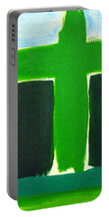 Green Cross On Hill Portable Battery Charger