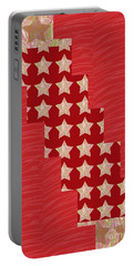 Cross Through Sparkle Stars On Red Silken Base Portable Battery Charger