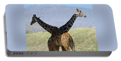 Crossed Giraffes Portable Battery Charger by Phyllis Kaltenbach