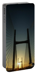 Crossing The Severn Bridge At Sunset - Cardiff - Wales Portable Battery Charger by Vicki Spindler