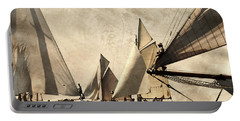 A Vintage Processed Image Of A Sail Race In Port Mahon Menorca - Crowded Sea Portable Battery Charger by Pedro Cardona