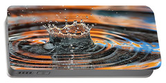 Portable Battery Charger featuring the photograph Crown Shaped Water Drop Macro by Teresa Zieba