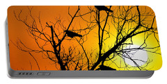 Crows At Sunset Portable Battery Charger by Bill Cannon