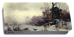Crows In A Winter Landscape Portable Battery Charger by Karl Kustner