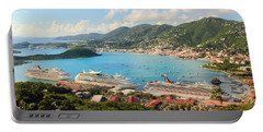 Cruise Ships In St. Thomas Usvi Portable Battery Charger by Roupen  Baker
