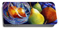 Portable Battery Charger featuring the painting Crystal And Pears by Roger Rockefeller