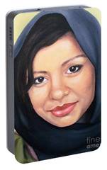 Portable Battery Charger featuring the painting Cultured Beauty by Malinda  Prudhomme