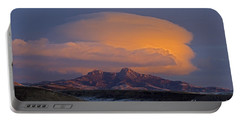 Cumulus Cloud Cap Over Heart Mountain   #2022 Portable Battery Charger by J L Woody Wooden
