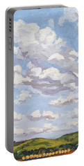 Portable Battery Charger featuring the painting Cumulus Clouds Over Flint Hills by Erin Fickert-Rowland