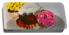 Portable Battery Charger featuring the painting Cupcakes by Marisela Mungia