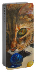 Portable Battery Charger featuring the painting Curious by Karen Ilari