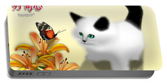 Curious Kitty And Butterfly Portable Battery Charger