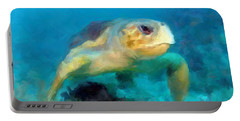 Curious Sea Turtle Portable Battery Charger by David  Van Hulst