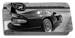 Curvalicious Viper In Black And White Portable Battery Charger by Gill Billington