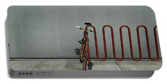 Portable Battery Charger featuring the photograph Curved Rack In Red - Urban Parking Stalls by Steven Milner