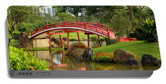 Curved Red Japanese Bridge And Stream Chinese Gardens Singapore Portable Battery Charger