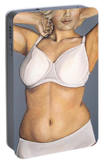 Portable Battery Charger featuring the painting Curvy Beauties - Beautiful Blonde by Malinda  Prudhomme