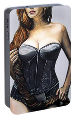 Portable Battery Charger featuring the painting Curvy Beauties - Christina Hendricks by Malinda  Prudhomme