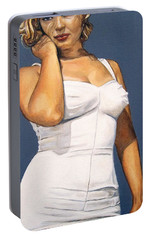 Portable Battery Charger featuring the painting Curvy Beauties - Marilyn Monroe by Malinda  Prudhomme