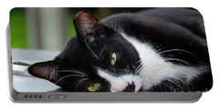 Cute Black And White Tuxedo Cat With Nipped Ear Rests  Portable Battery Charger