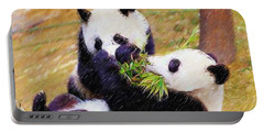 Cute Pandas Play Together Portable Battery Charger by Lanjee Chee