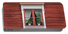 Cute Window On Red Wall Portable Battery Charger