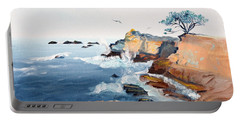 Cypress And Seagulls Portable Battery Charger by Asha Carolyn Young