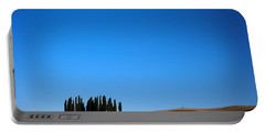 Cypress Forest In The Barren Rolling Hills Of Tuscany Portable Battery Charger