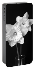 Daffodil Flowers Black And White Portable Battery Charger