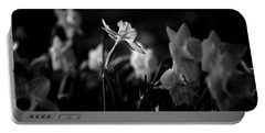 Daffodils In Black And White Portable Battery Charger