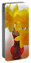 Daffodils In Red Vase Portable Battery Charger by Diane Alexander